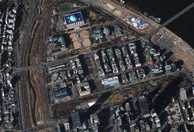 여의도, 서울 (2016년1월8일 촬영) - 한국항공우주연구원 제공